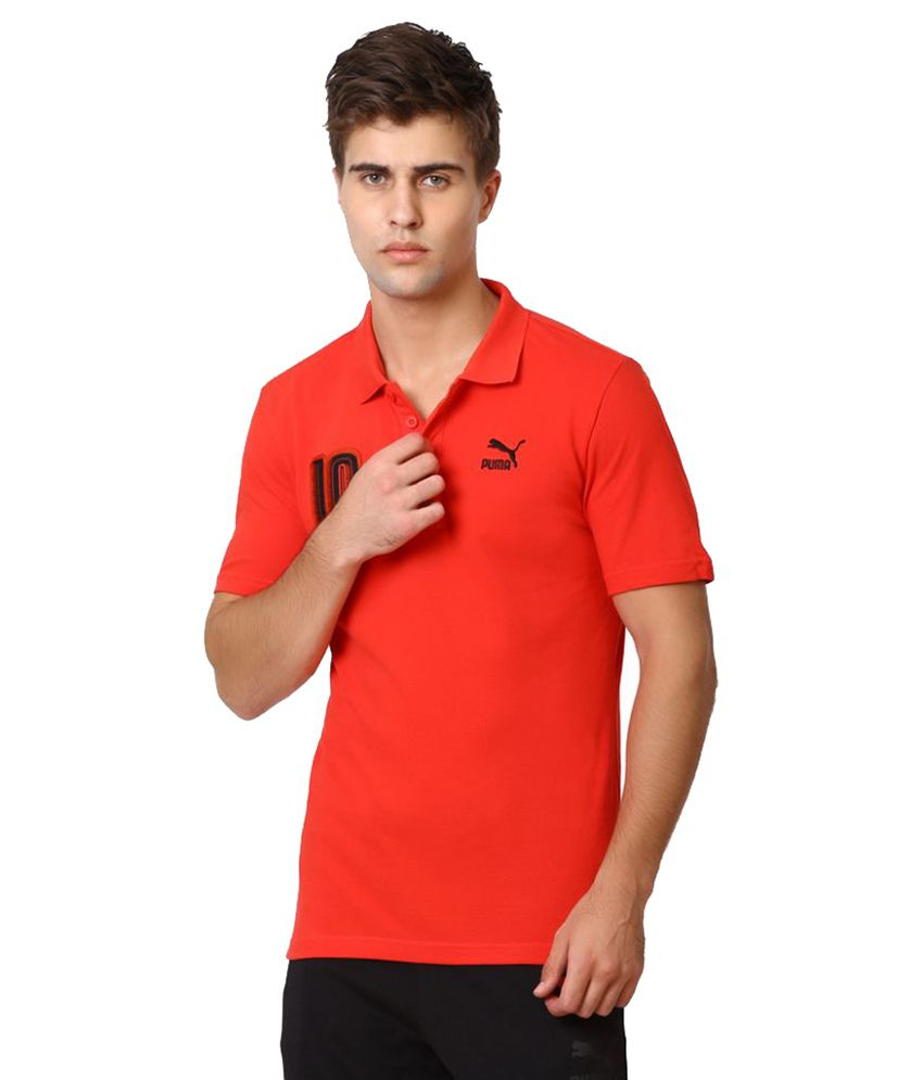 Puma Red Polyester Polo T-Shirt