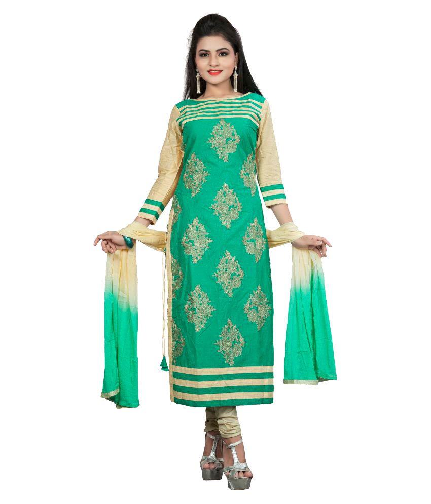 Aai Shree Khodiyar Art Green Cotton Dress Material