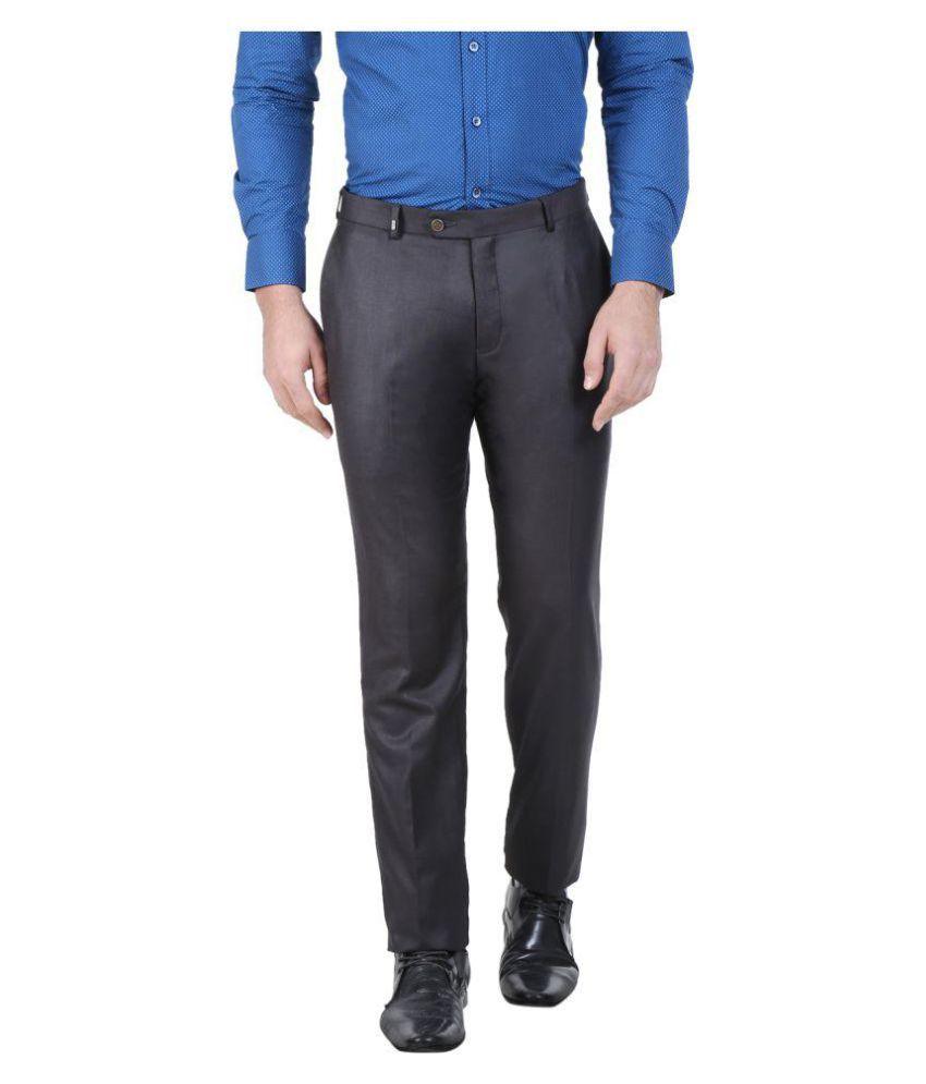 Oxemberg Grey Slim Flat Trousers