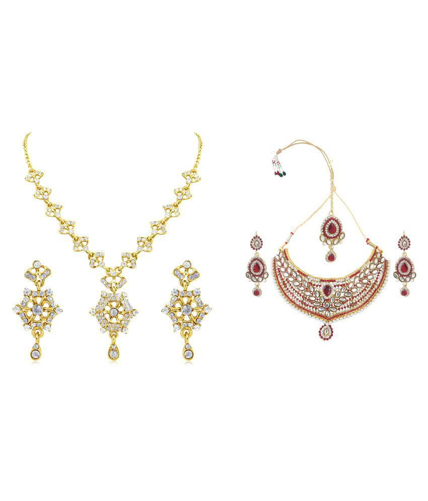 Inaya Gold Plated and Multicolour Stone Combo Necklace Set