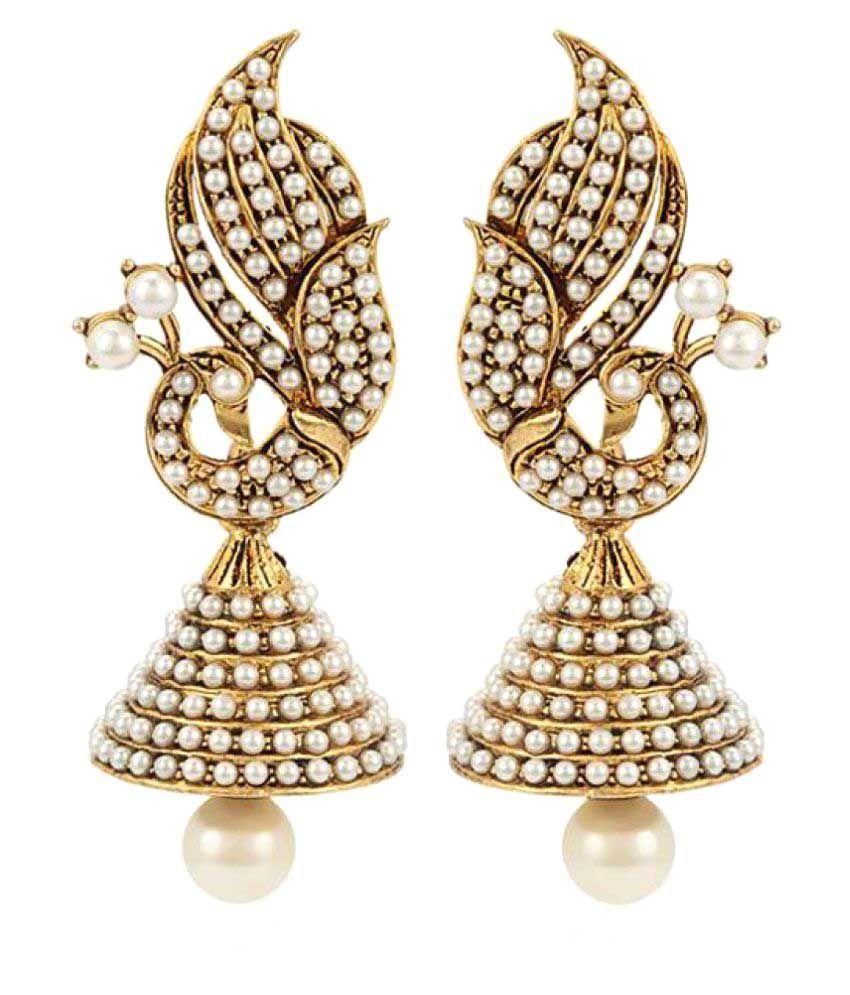 Jewels Capital Golden Alloy Jhumki Earrings