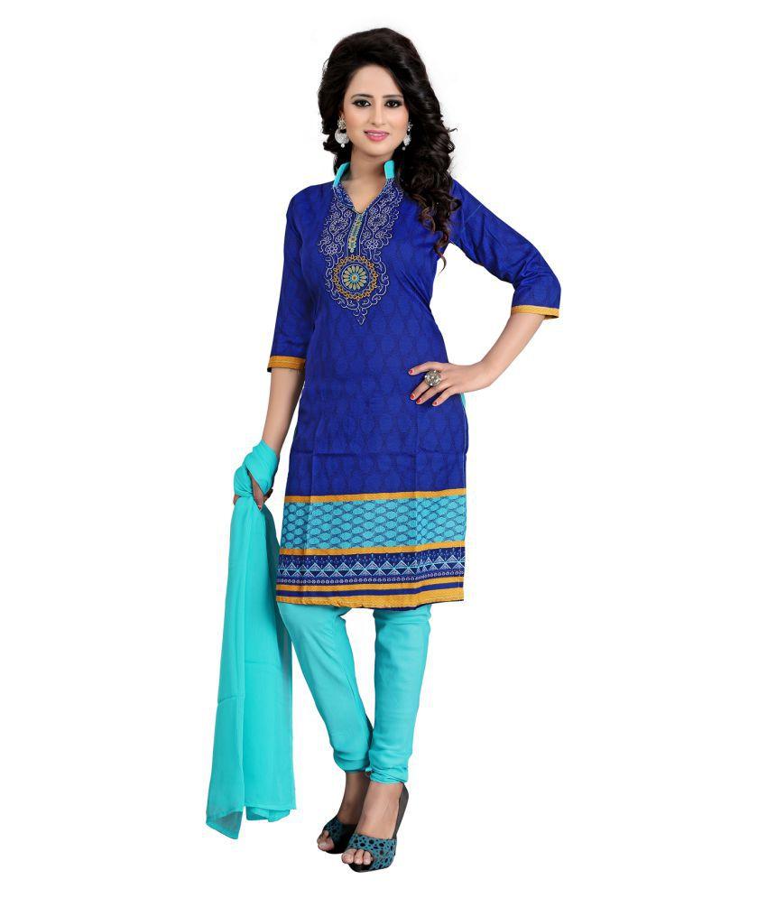 Kesu Fashion Blue Crepe Dress Material