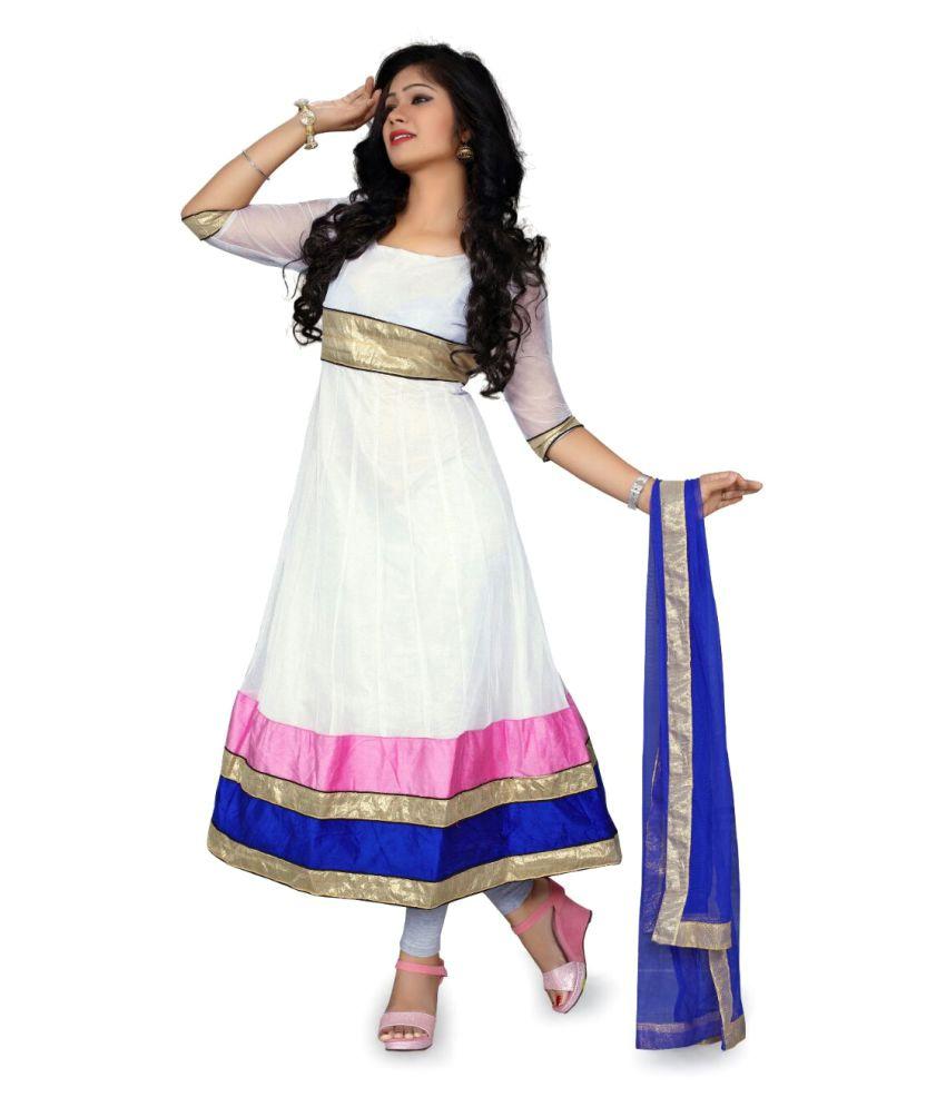 Amardeep Creation White Net Dress Material