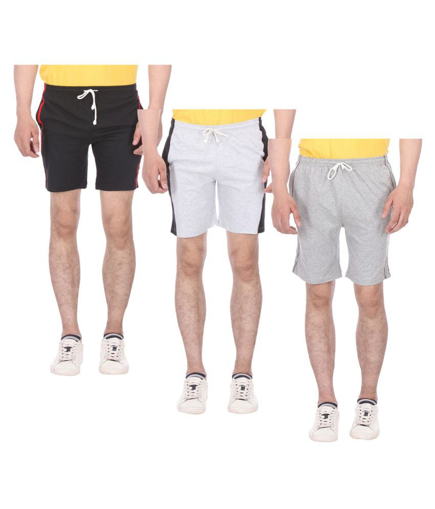 TeesTadka Multi Shorts Pack of 3