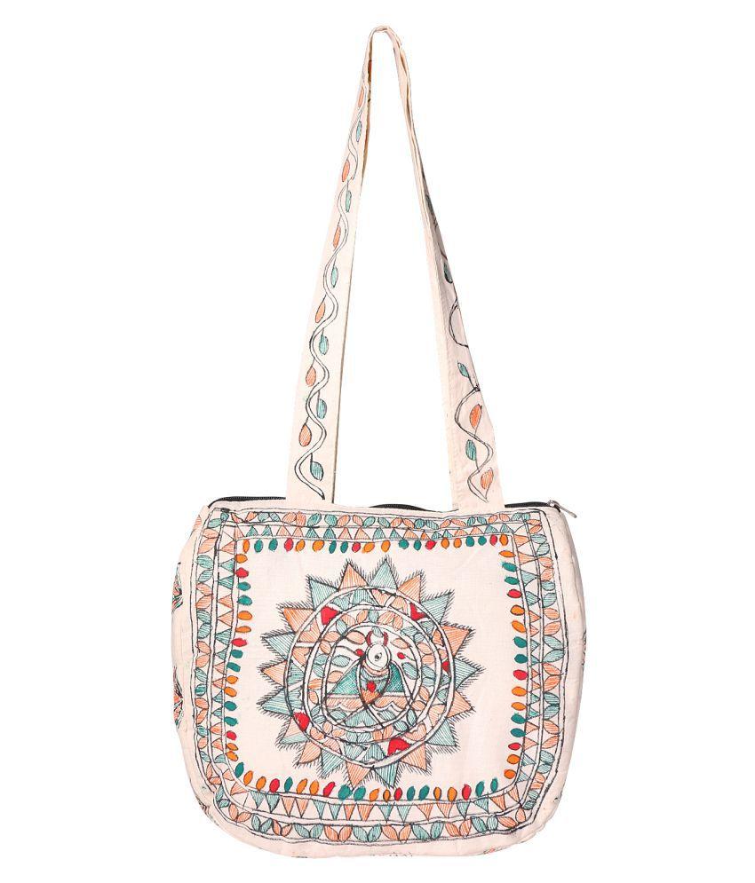 iMithila Cream Cotton Sling Bag