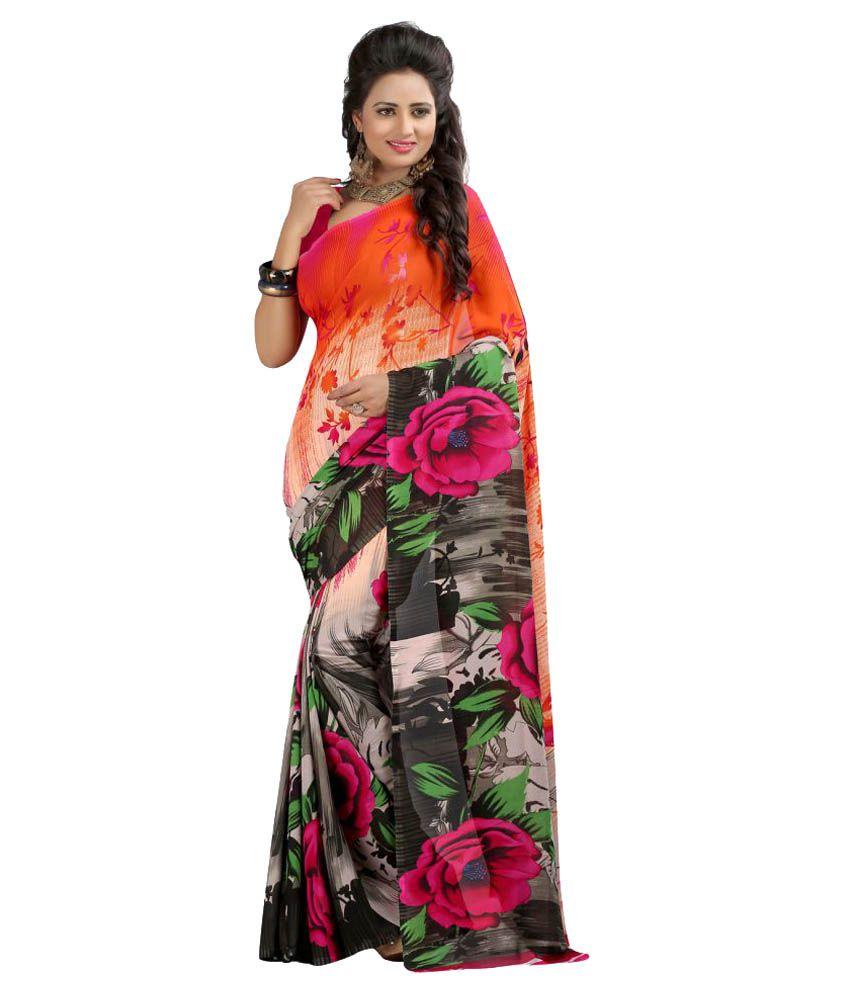 Kesu Fashion Multicoloured Georgette Saree