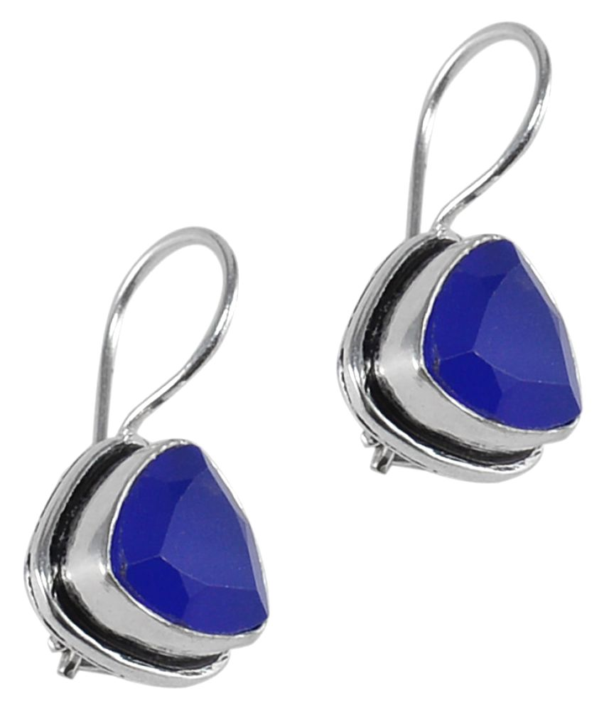 Silvesto India Blue Quartz Gemstone 925 Silver Plated Earring PG-25400
