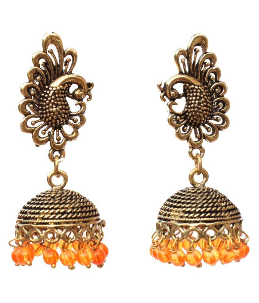 Kaizer Jewelry Orange Jhumkis