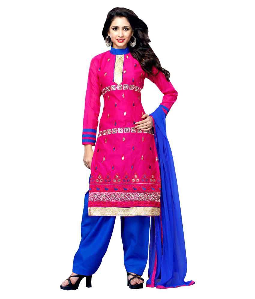 Khushali Pink Chanderi Dress Material