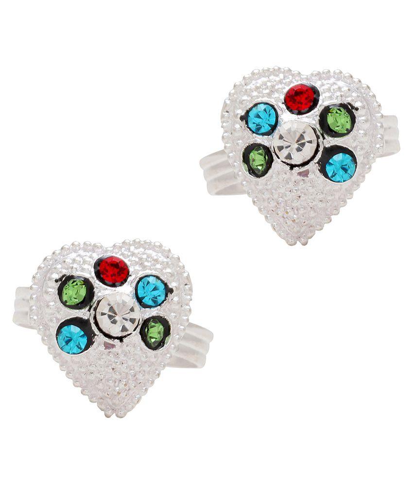 Memoir Silver plated CZ studded Heartshape shape toerings for Women