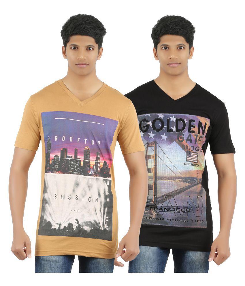 Port Deal Multi V-Neck T-Shirt Pack of 2