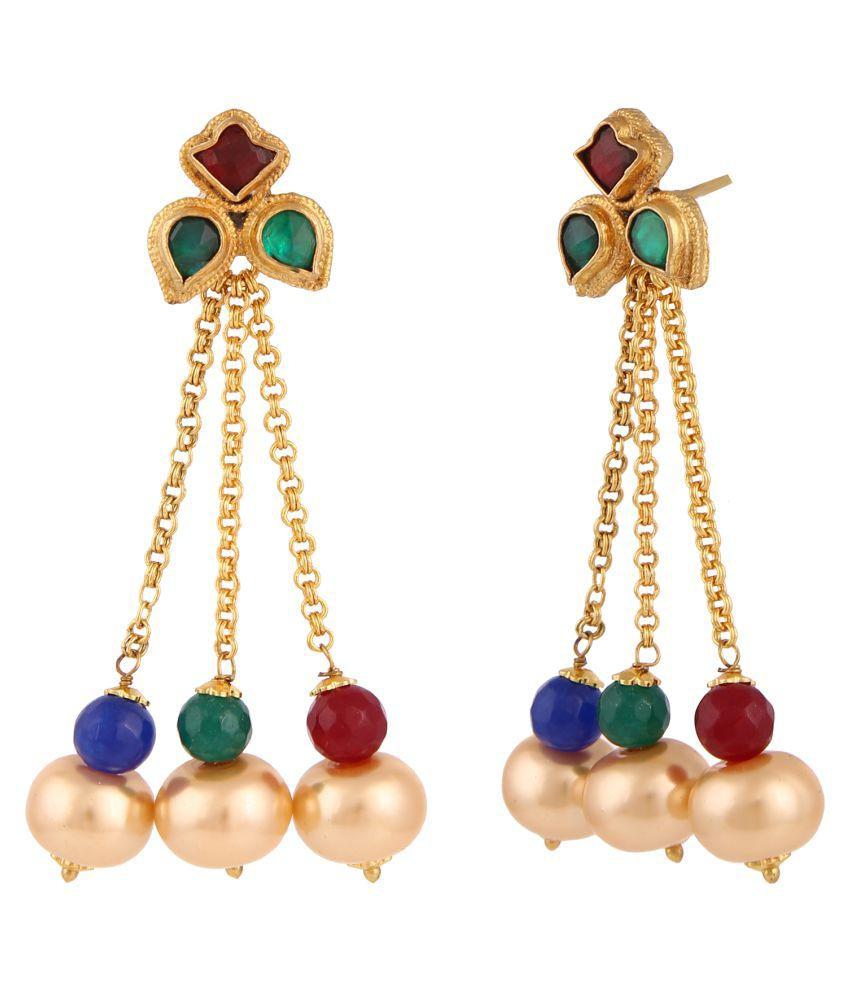 Sri Shringarr Fashion Traditional Micro Gold Polished Semi Precious Polki/Kundan Earrings for Women (EAR527ON)