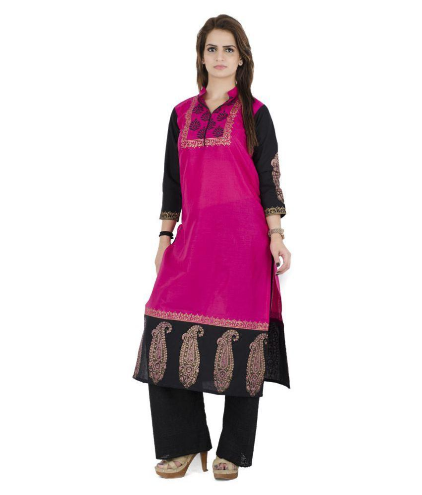 Zoeyam's Pink Cotton Straight Kurti