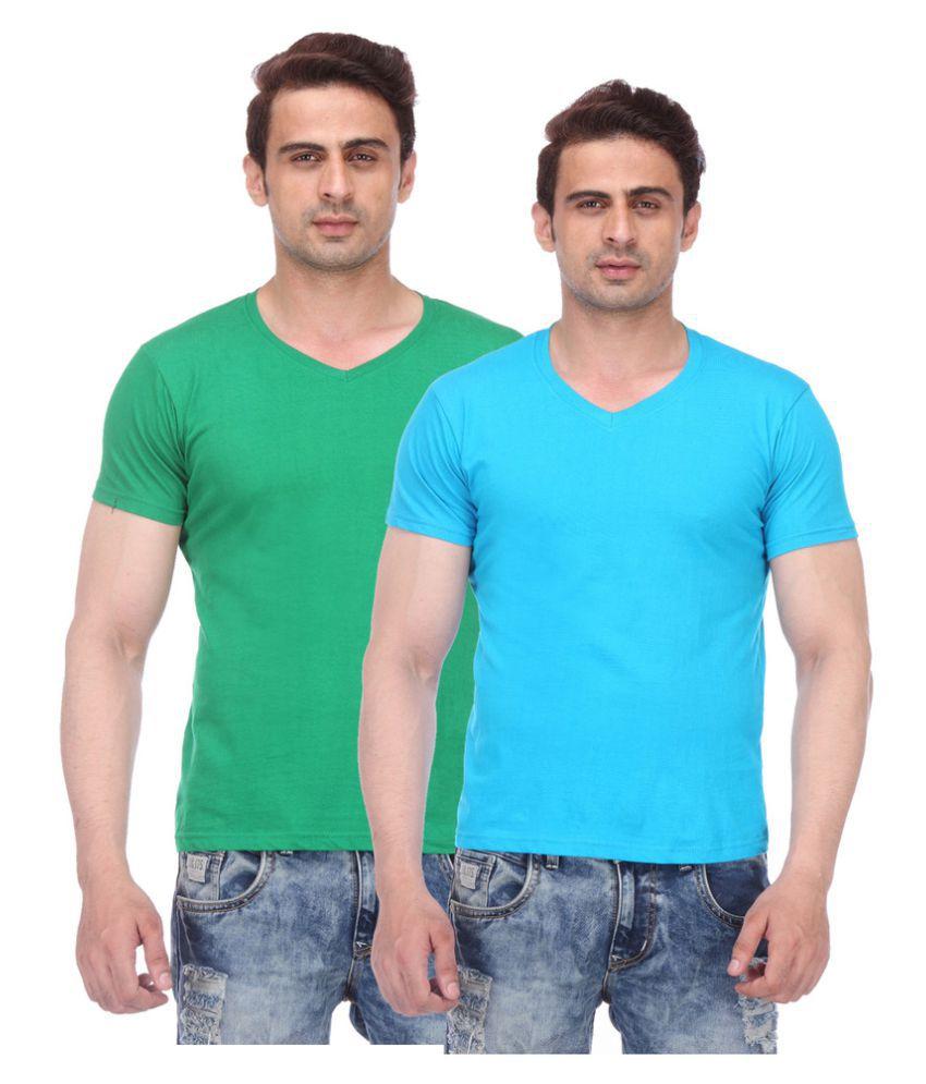 TeesTadka Multi V-Neck T-Shirt Pack of 2
