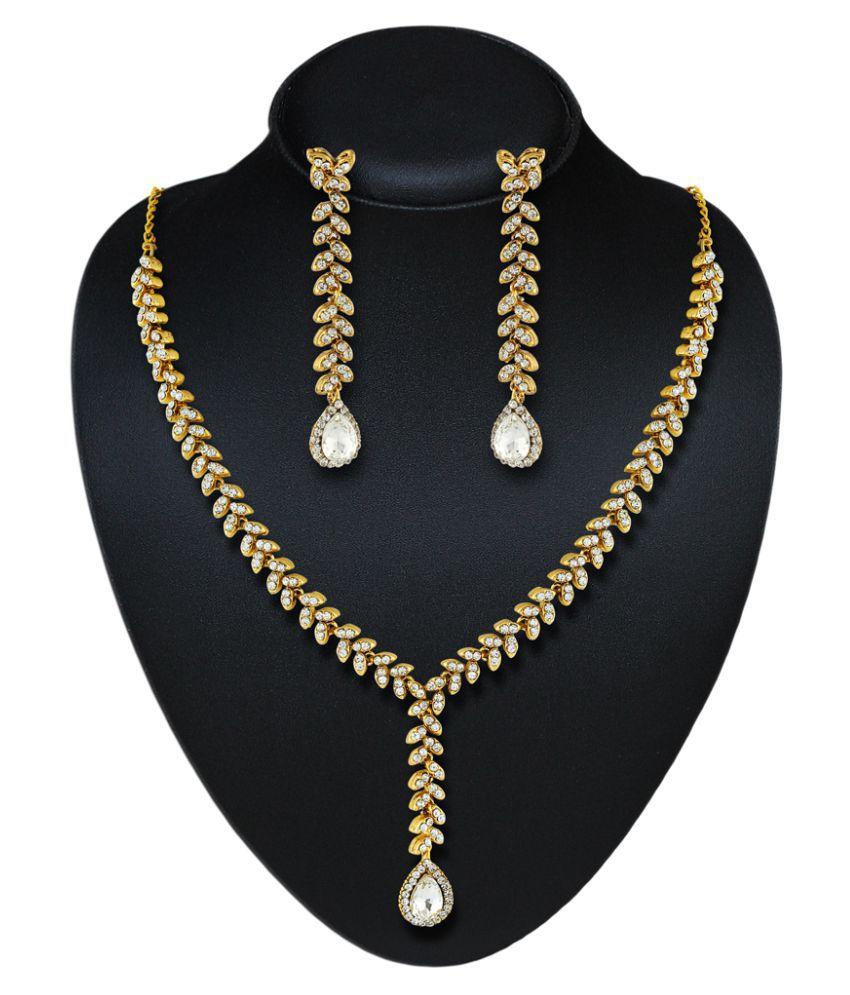 Rich Lady Trendy Austrian Stone Gold Finishing Necklace Set