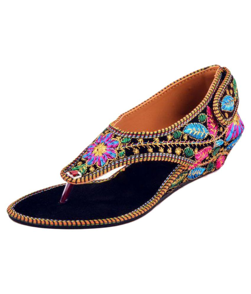 PM Traders Multi Color Wedges Ethnic Footwear