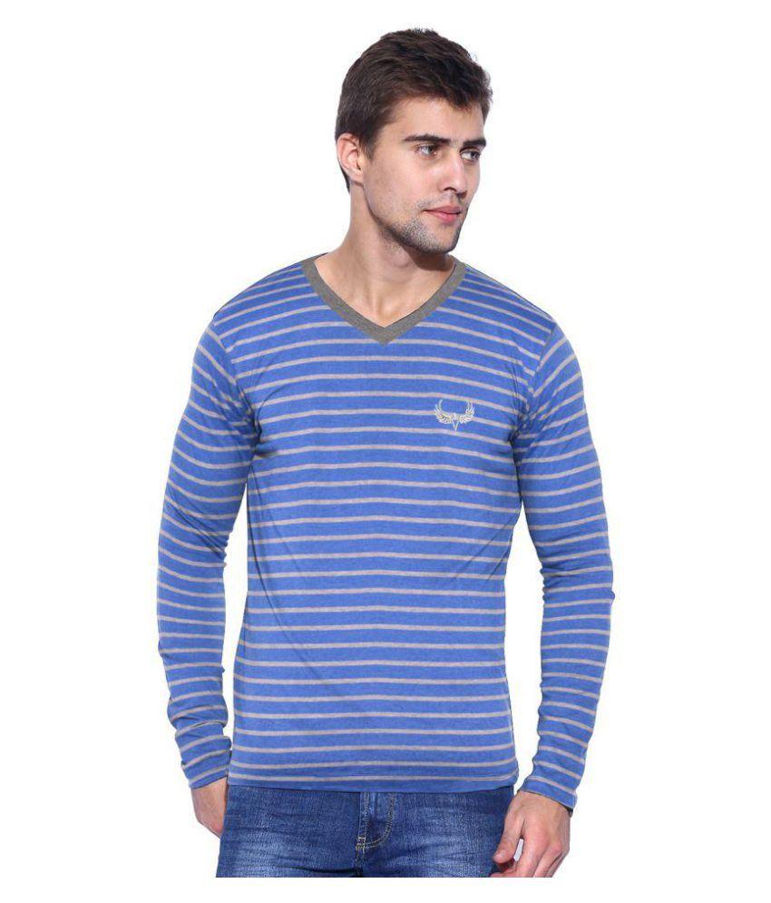 Avenster Blue V-Neck T-Shirt