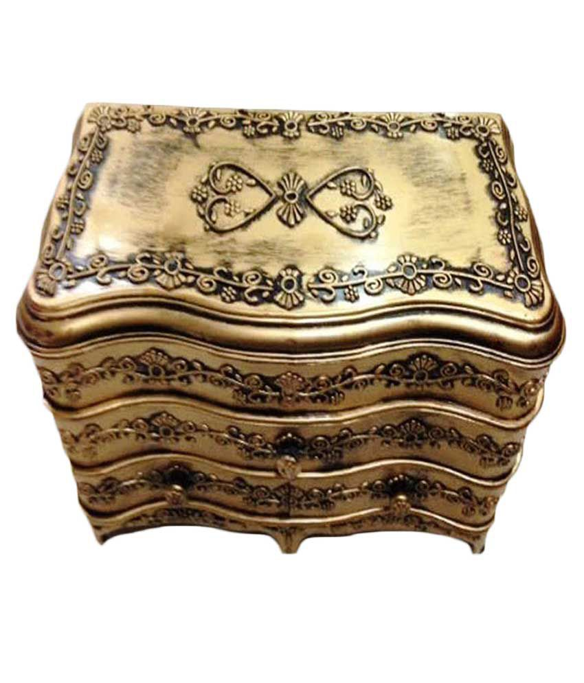 The Blue Leaf Golden Alloy Jewellery Box