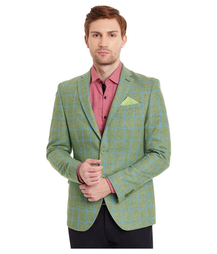 Envoy Green Checks Casual Blazers