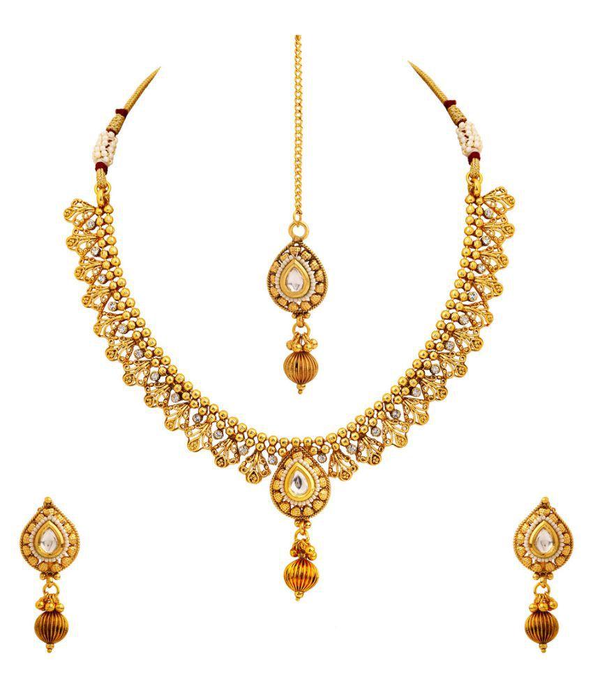 Rajwada Arts Multicolor Necklace Set with Mang Tikka