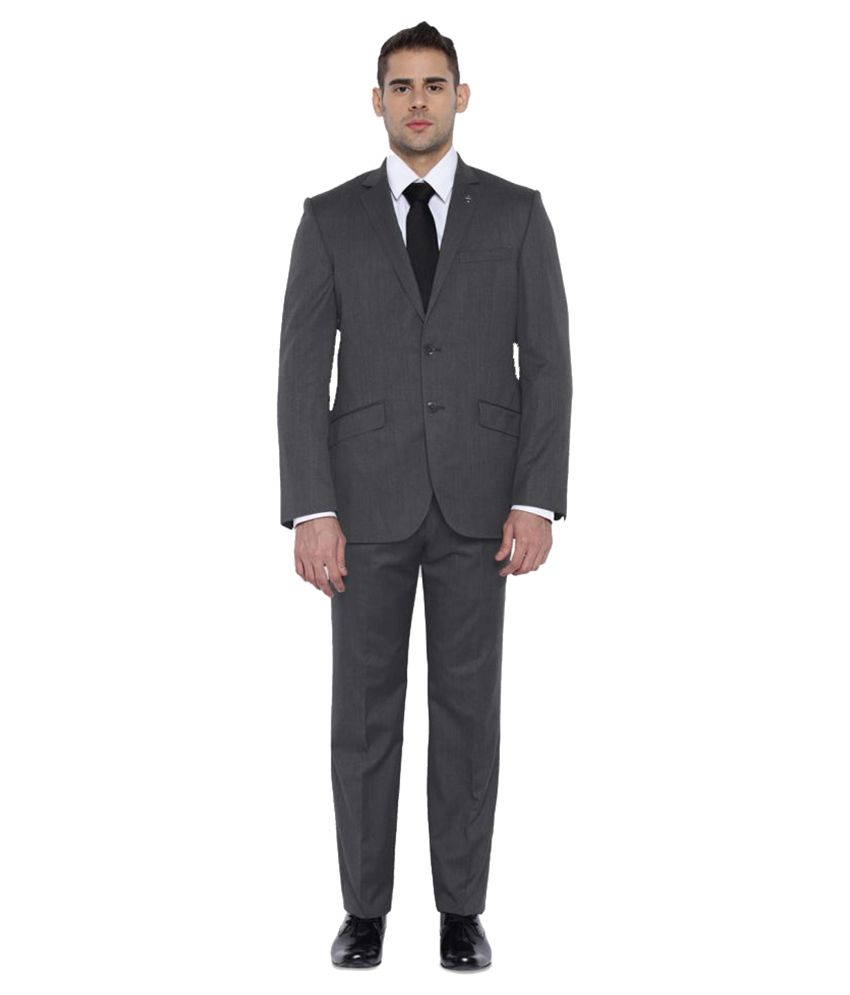Park Avenue Grey Plain Formal Suit
