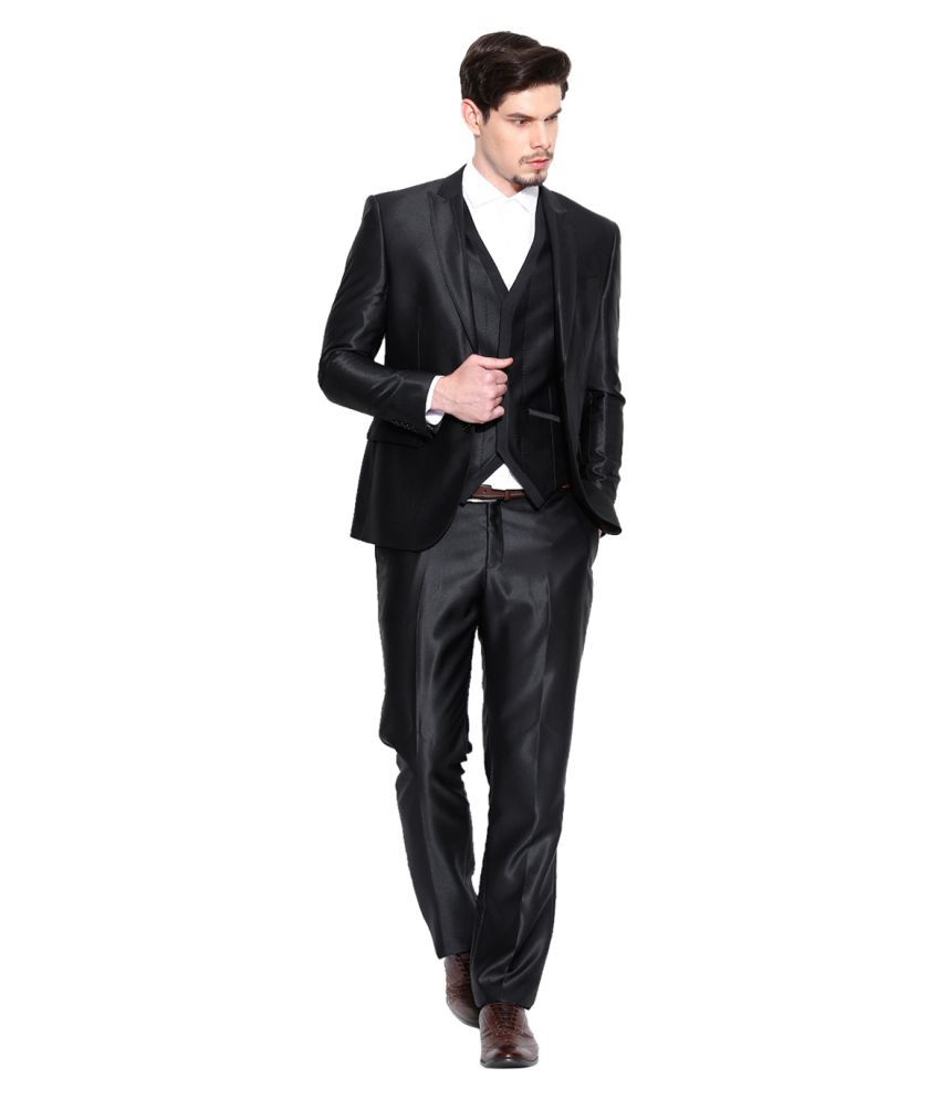 Blackberrys Black Solid Party 3 Piece Suits