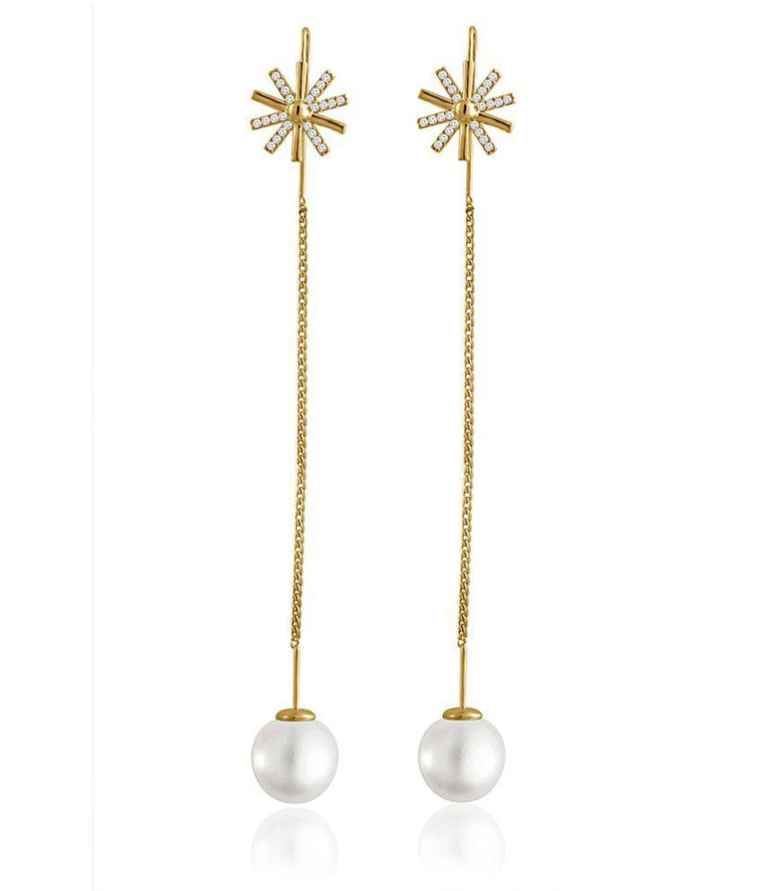 Spargz Gold Plated Long Chain Pearl Hanging Earrings For Women
