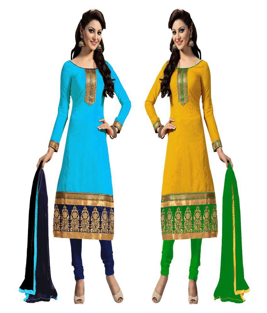 Multi Retail Multicoloured Chanderi Dress Material