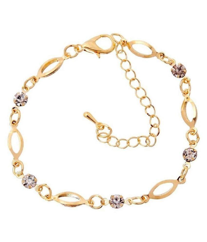 ec7b0f04850 Wearyourfashion 18k Gold Plated Crystal Link Romantic Bracelet for  Women/Girls