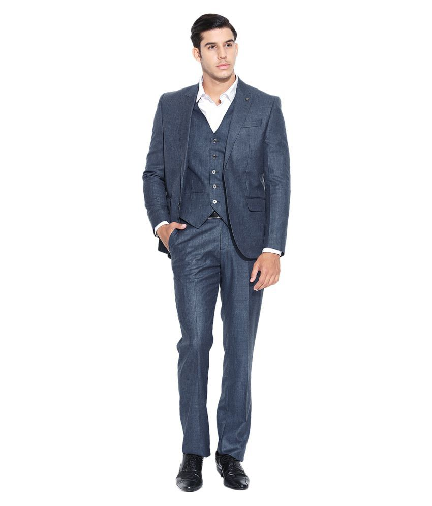 Blackberrys Blue Solid Party Suit