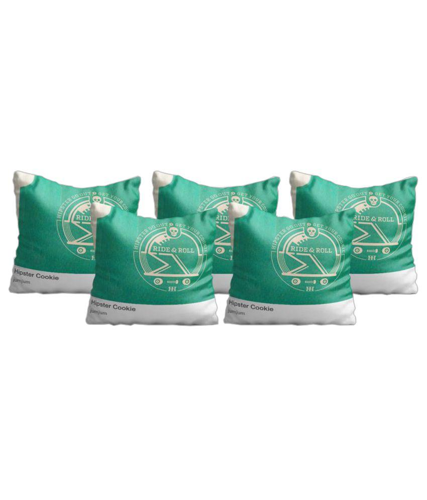 Zaprey Set of 5 Satin Cushion Covers 40X40 cm (16X16)