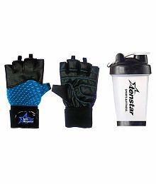 Tenstar Multipurpose Fitness, Cycling And Gym Gloves & Shaker Water Bottle With Strainer 500 Ml For Men & Women (Jubilant Lifestyle)