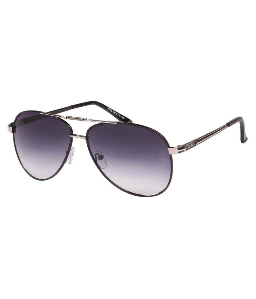 Ted Smith Blue Aviator Sunglasses ( TS6008_BLK/GUN )