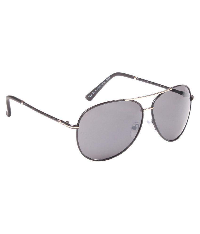 Ted Smith Grey Aviator Sunglasses ( TS6005_M.BLK/GLD )