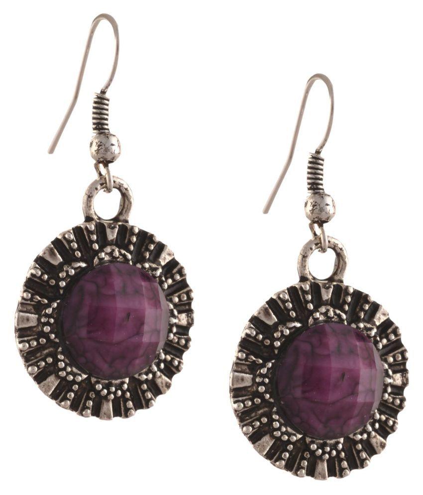Zephyrr Purple Alloy Hanging Earrings