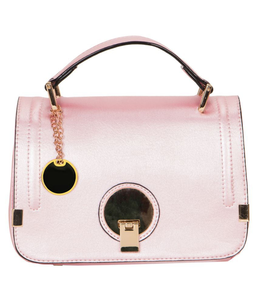 Smerize Baby Pink Faux Leather Shoulder Bag