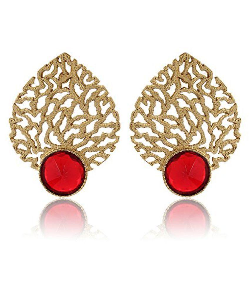 Shining Diva Romantic Red Jali Work Designer Earrings For Women