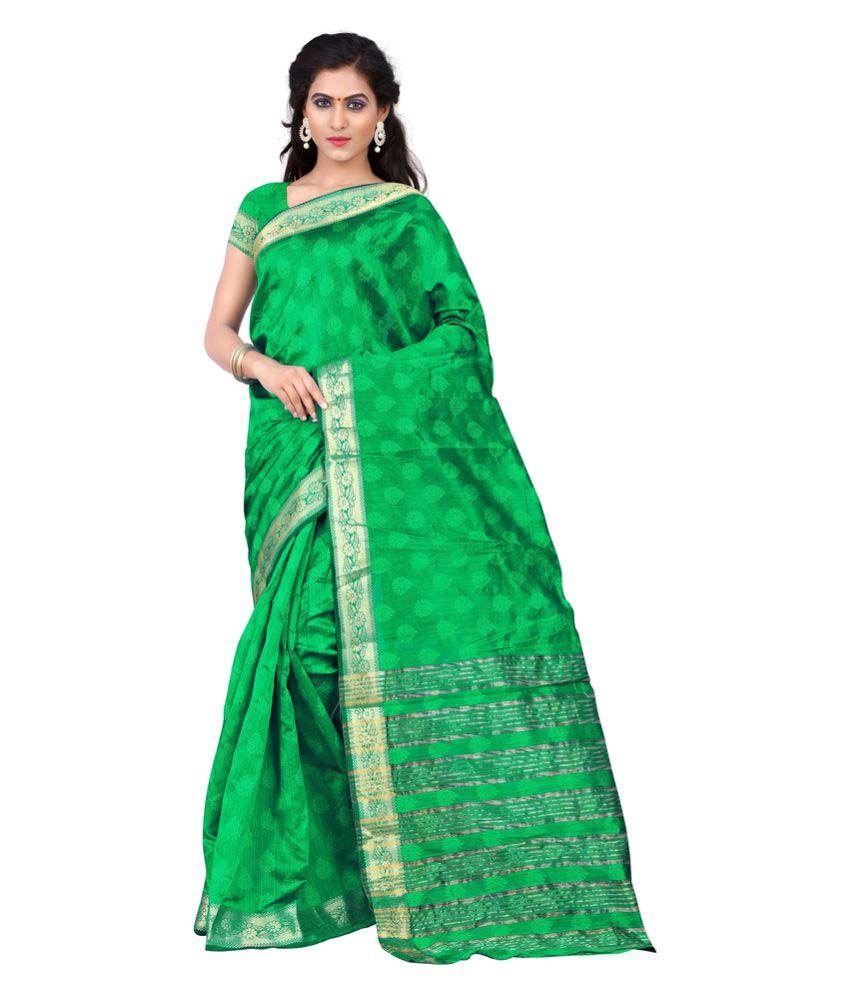 Urban Naari Green Cotton Saree