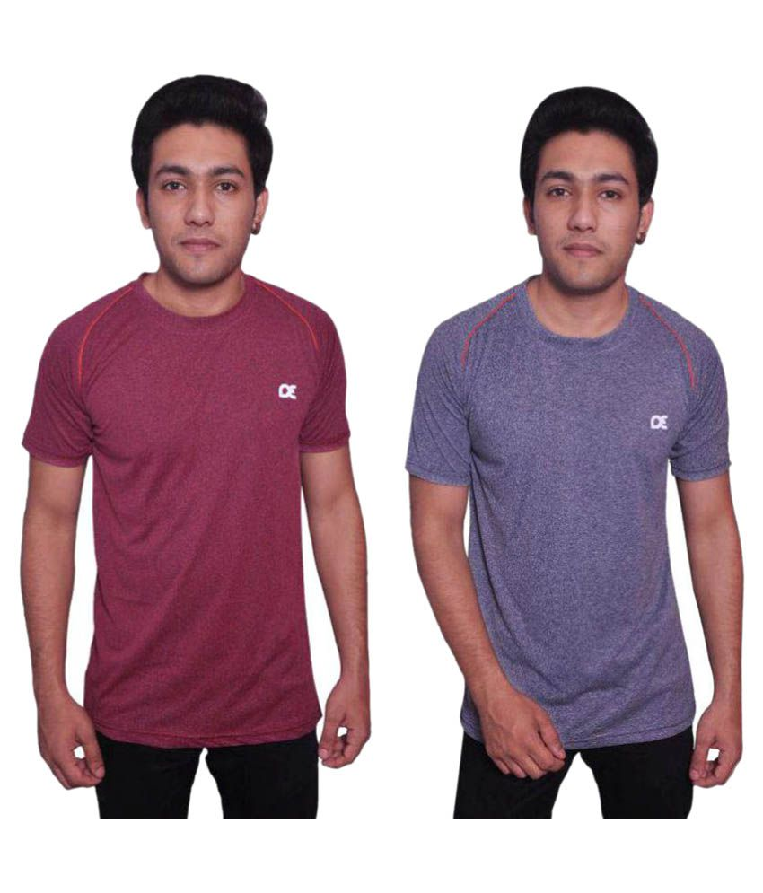 Dyed Colours Multi Polyester T Shirt Pack of 2