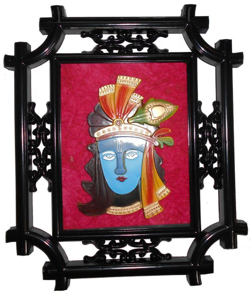 Vedanta Krishana Wood Painting With Frame Single Piece