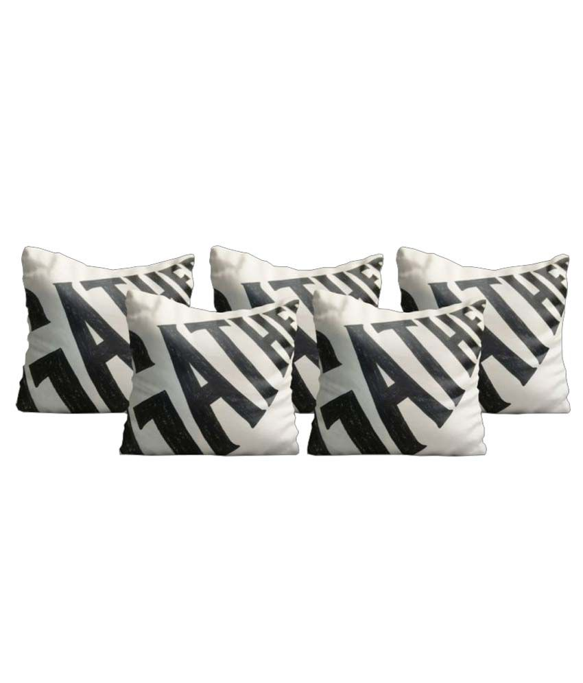 Zaprey Set of 5 Satin Cushion Covers 40X40 cm (16X16)