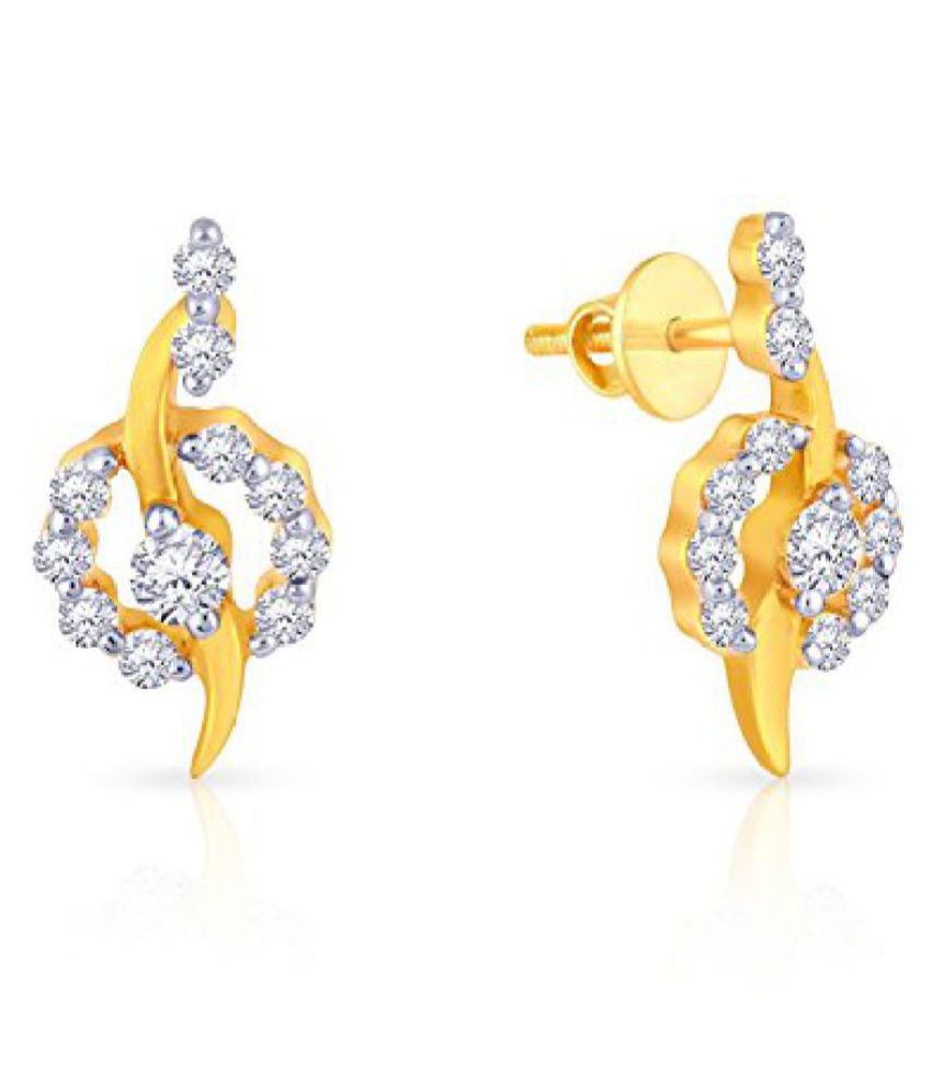 Malabar Gold and Diamonds Mine Collection 18k (750) Yellow Gold and Diamond Stud Earrings