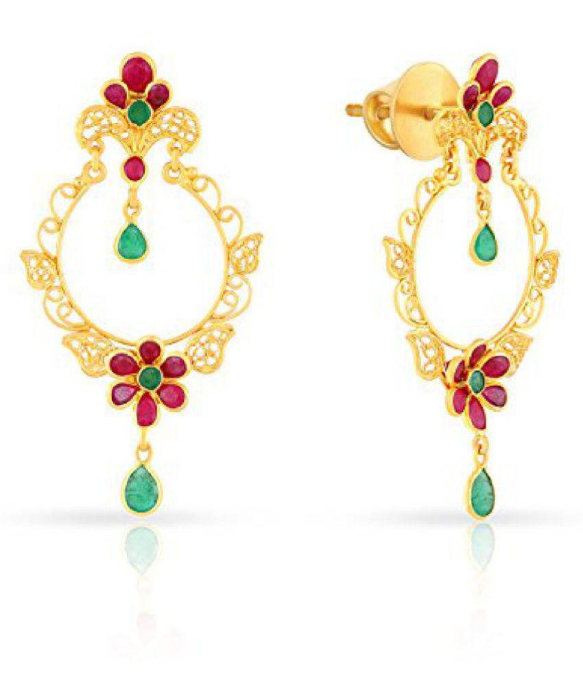 Malabar Gold and Diamonds Precia 22k Yellow Gold and Ruby Drop Earrings