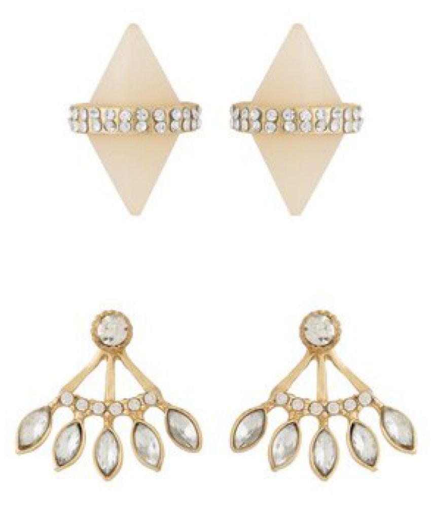 Voylla Pack Of 2 Gold Tone Earrings