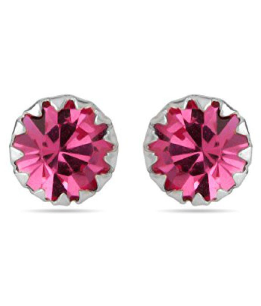 Voylla Pair Of Sterling Silver Earrings Studded With Pink CZ