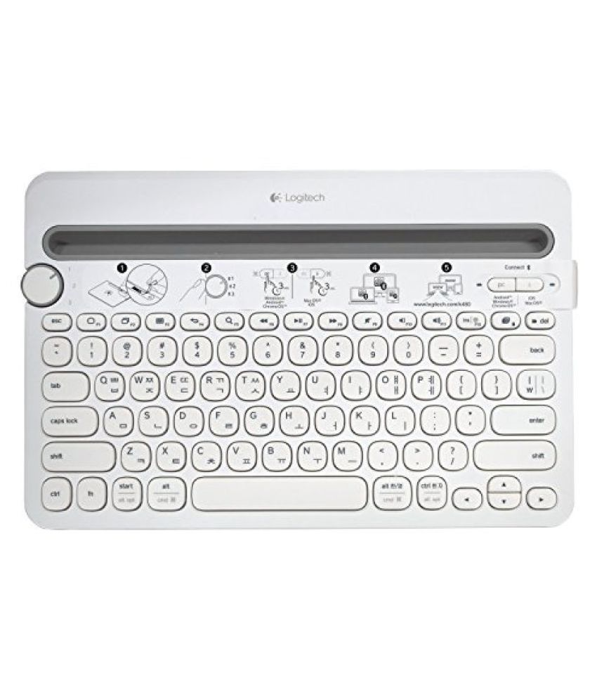 Logitech Bluetooth Multi Device K480 [White   Korean/English Keyboard] for Computers, Tablets and Smartphones