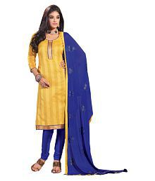 Women Icon Yellow Banarasi Silk Dress Material