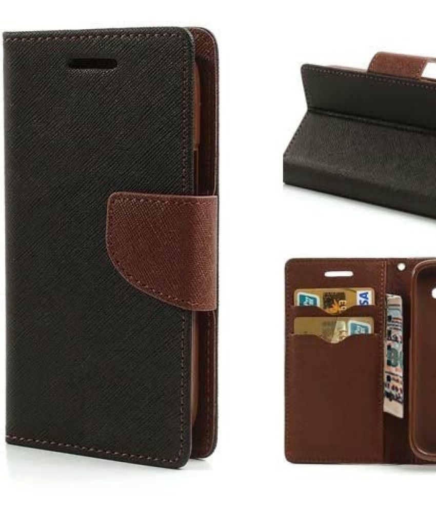 Nokia Lumia 530 Flip Cover by MV - Brown