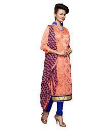 Fashions World Orange Chanderi Dress Material