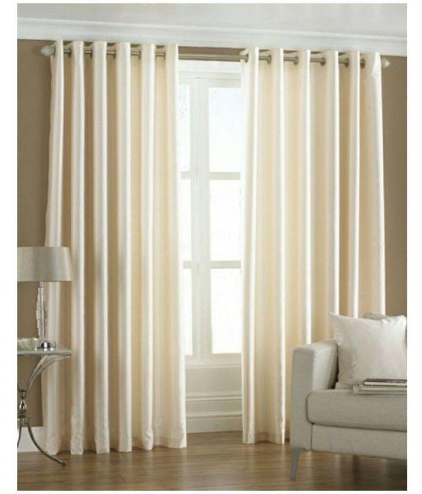 Abhi Decor Set Of 2 Door Eyelet Curtains Plain Cream Buy